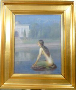 UNSIGNED! MERMAID SITTING ON A STONE IN THE LAKE