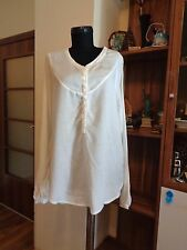 RABENS SALONER WHITE MODAL AND COTTON VOILE 1/2 BUTTONS HIGH-LOW TUNIC-M,12-UK