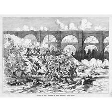 Spagna volontari di Teruel repulsing a carlist ATTACCO-antico print 1874