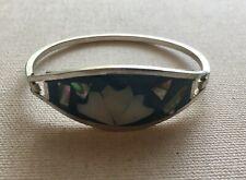 Boho Blue White Tone Hinged Vintage Alpaca Bangle Bracelet Fan Scallop Inlay