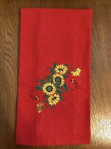 Embroidered Red 100% Cotton Flour Sack Kitchen Towel w/ Sunflower Design