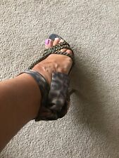 Genuine Guess Shoes Animal Print Ankle Strap Size 5 Zip Back