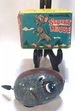 Vintage YONE Tin Mechanical Scurry Mouse Key Wind Working Condition w/ Box Japan