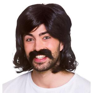 1970s Black Mens Disco Fever Wig 70s Adult Fancy Dress Wig + Tash
