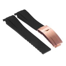 StrapsCo Silicone Rubber Oysterflex Watch Band Strap for Rolex w Rose Gold Clasp