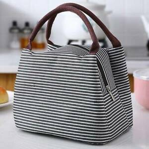 Grey Lunch Bag Insulated Cool Thermal Picnic Handbag Lunch Box Office School