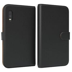 Para Samsung Galaxy Xcover Pro Estuche Plegable Funda Sintética Protectora Negro