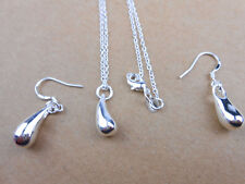 925 Sterling Silver Plated Solid Teardrop Drop Necklace Chain Earrings