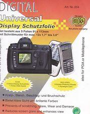 """5x Bilora Display SCHUTZFOLIE UNIVERSAL 91x131mm mit Schnittmuster bis 3,0"""""""