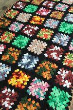 Vintage Handmade Crochet Granny Square Patchwork Tie Dye Accent Throw