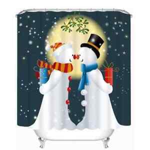Snowmen Giving Gifts 3D Shower Curtain Polyester Bathroom Decor  Waterproof