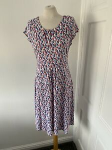 Seasalt Carnmoggas Blue/Red/White Fit And Flate Dress Size Uk 10