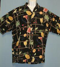 Tori Richard Honolulu Tropical Cocktails Aloha Camp Shirt 100% Viscose Large
