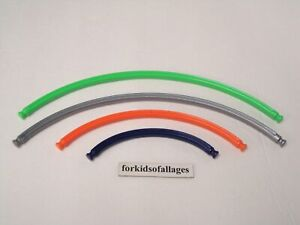 4 KNEX Curved Rigid Rods: Green, Silver/Gray, Orange, Purple Parts/Pieces Lot