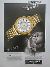 3/1991 PUB MONTRE WATCH LONGINES LINDBERGH HOUR ANGLE SPIRIT OF ST LOUIS AD