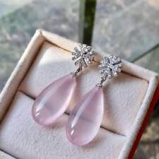 Certified Natural Mozambique Rose/Pink Quartz Eardrop S925 Sterling Silver Gifts