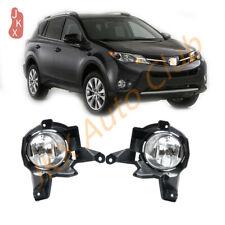 LH+RH Clear Driving Lamps Fog Light w/ Brackets For Toyota RAV4 2013 2014 2015