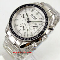 40mm bliger white dial steel strap date week multifunction automatic mens watch