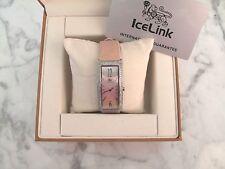 ICELINK $2875 NEW : Lyra 2.25 ct. Diamond Mother of Pearl Pink SWISS Wrist Watch
