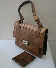 Jaguar Vintage Tasche, edle Handtasche, Leder braun Krokoprägung, 100 % Original