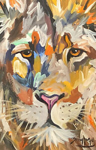 Broadway Original Expressionism Acrylic Colorful Lion painting 4x6 in.