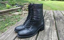 Womens Vintage 80s NINE WEST Black Lacer Lace Up Granny Grunge Riding Boots 8