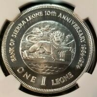 1974 SIERRA LEONE SILVER 1 LEONE BANK ANNIVERSARY NGC PF 69 TOP POP