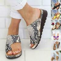 Women Comfy Platform Sandal Shoes Bunion Corrector Summer Shoes PU Leather M9N3
