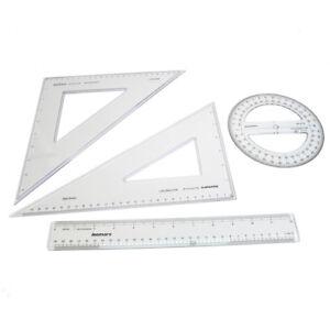 GraphicPro Geometry Set 4 Pieces Set Square Ruler Protractor School Math Set