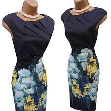 Rare Karen Millen Signature Black Green Iris Floral Wiggle Cocktail Dress 10 UK