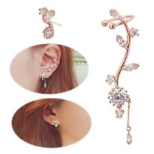 Ear Crawler Earrings Leaves Climber Ear Cuff Chandelier Rhinestone Wrap Pin Asym