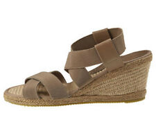 NEW LADIES WOMENS COMFORT ELASTICATED WEDGE SANDAL TAUPE - SIZE 6