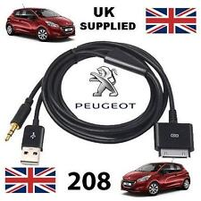 For Peugeot 208 iPhone 3gs 4 4s 30 pin iPod 3.5mm USB & Aux cable black