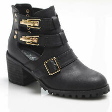 NEW CUT OUT ANKLE BOOT BLOCK HEEL GOLD BUCKLES CLIPS STRAPS GAP BOOTIES