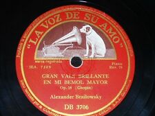 PIANO 78 rpm RECORD Spain VsA ALEXANDER BRAILOWSKY Vals CHOPIN Ecossaises