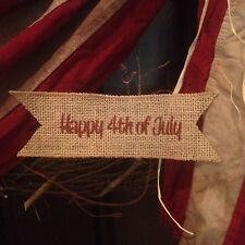 Primitive Burlap Ribbon Banner Happy 4th Of July Ornament Garland Patriotic Red