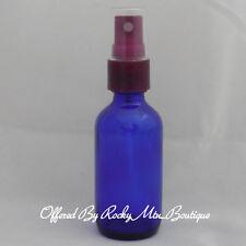 2oz BLUE GLASS BOTTLE + PLUM SPRAY PUMP~empty cosmetic purple sprayer atomizer 8
