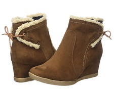 Evans Alicia Womens UK 5 E Wide Fit Brown Wedge Heel Fur Trim New Ankle Boots