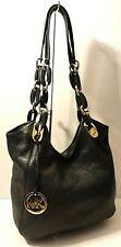 Michael Kors Black Genuine Leather Hobo Shoulder Purse Bag Chain MK Tag Charm