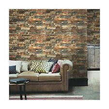 "HaokHome H016 Faux Brick Peel and Stick Wallpaper 23.6"" x 19.7ft Rusty/Dark NEW"