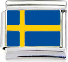 SWEDEN SWEDISH FLAG Enamel Italian Charm 9mm - 1 x PE033 Single Bracelet Link