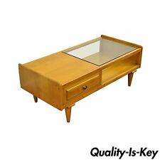 Vintage Mid Century Modern Willett Maple Glass Top Coffee Table Danish Style