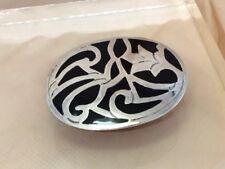 Vtg Talleres De Los Ballesteros Mexico Taxco Sterling Silver Onyx Inlay Brooch