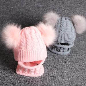 Kids Baby Beanie Hat Cap Boys Girls Warm Double Fur Pom Knitted Bobble Scarf `
