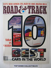 Road and Track Magazine  December 1987  10 Best Cars In The World