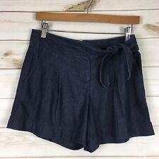 Trina Turk Women's Size 0 Tie Waist Dark Denim Jean Shorts Mid-Rise Casual