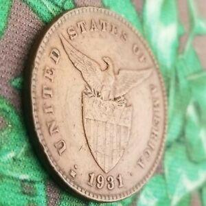 1931-M 1 Centavo Philippines US Territory Manila Mint Bronze Coin One USA