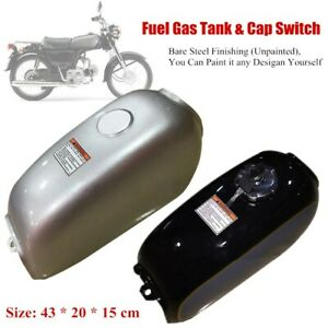 Universal Motorbike Fuel Gas Tank Assembly w/Fuel Tank Cap Switch Fit for Suzuki