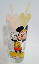 Vintage Mickey Mouse Drinking Glass with Straws Disney Art