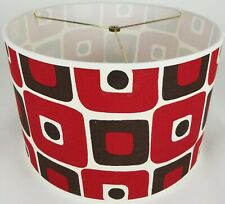 "NEW Drum Lamp Shade 15"" Dia 10"" H Super Mod Red Fabric"
